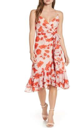 Eliza J Floral Print Faux Wrap Chiffon Dress
