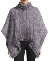 Adrienne Landau Knit Mink Fur Poncho, Gray