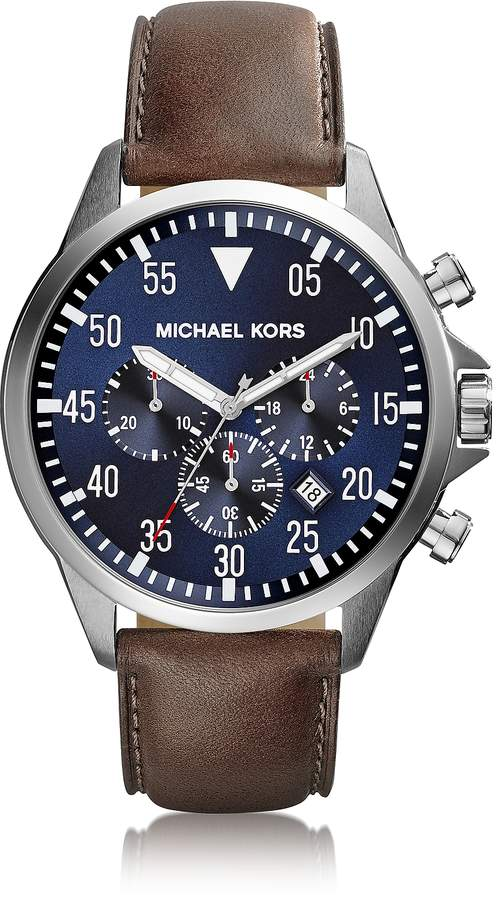 Michael Kors Gage Silver Tone Stainless Steel Case and Brown Leather Strap Men's Chrono Watch