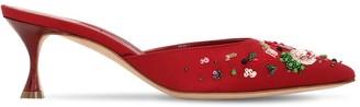 Manolo Blahnik 50mm Yolamu Embellished Satin Mules