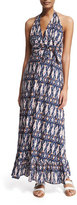 Figue Evie Ikat-Print Halter Maxi Dress