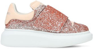 Alexander McQueen Glitter & Leather Strap Sneakers