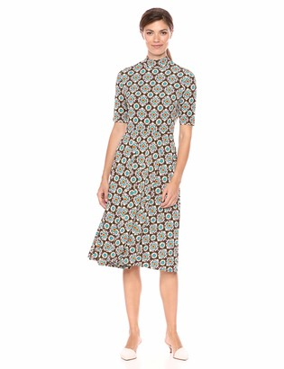 Donna Morgan Women's Matte Jersey Printed Mock Neck Dress