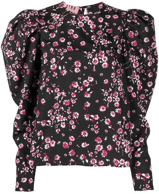 Gina Floral-Print Puff-Sleeve Blouse