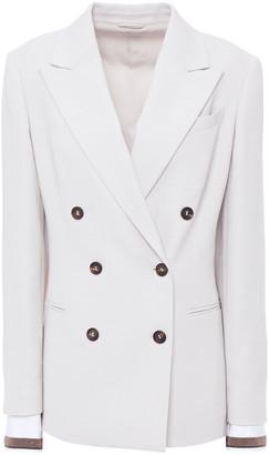 Brunello Cucinelli Double-breasted Wool-blend Twill And Stretch-cotton Poplin Blazer