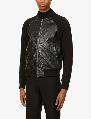 Emporio Armani Brand-pattern leather and knitted jacket
