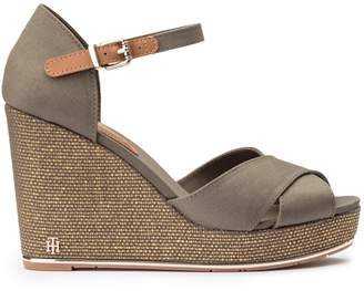 Tommy Hilfiger Canvas Wedge Heel Sandals with Beading