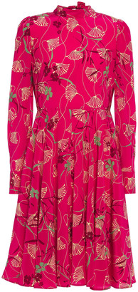 Valentino Bow-detailed Floral-print Silk Crepe De Chine Dress
