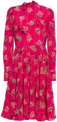 Valentino Bow-detailed Floral-print Silk Crepe De Chine Dress