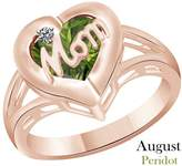 AFFY Simulated Green Peridot & Cubic Zirconia Mom Heart Promise Ring In 14K Gold Over Sterling Silver