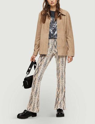 Topshop Snake-print flared-leg high-rise woven trousers