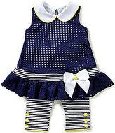 Bonnie Jean Bonnie Baby Baby Girls 12-24 Months Laser Cut Drop Waist Dress & Capri Legging Set