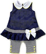 Bonnie Jean Bonnie Baby Girls 12-24 Months Laser Cut Drop Waist Dress & Capri Leggings Set
