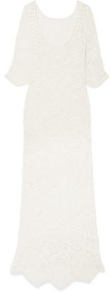 LoveShackFancy Helen Crocheted Lace Maxi Dress - Off-white