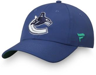 Women's Fanatics Branded Blue Vancouver Canucks Authentic Pro Rinkside Adjustable Hat