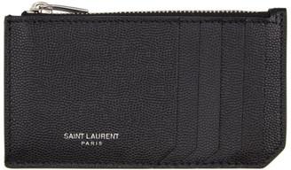 Saint Laurent Black Grain De Poudre Fragment Card Holder