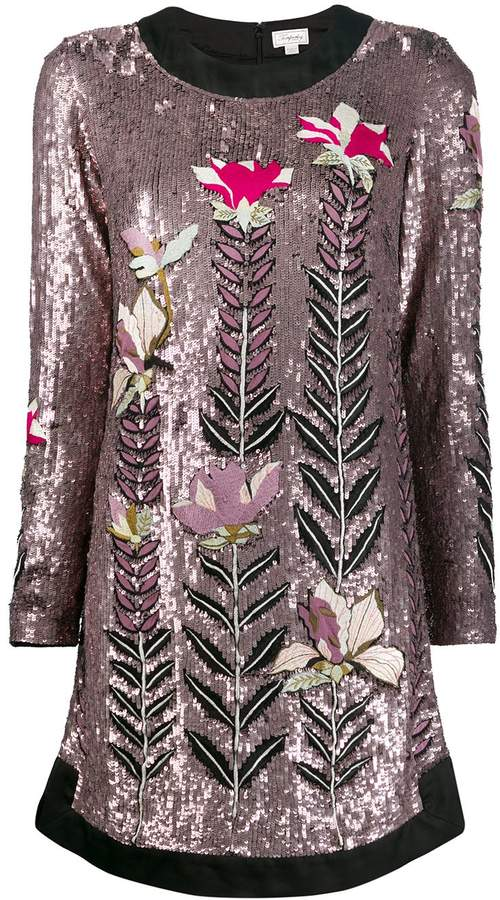 Temperley London magnolia sequin shift-dress