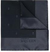 Alexander McQueen Silk-jacquard Pocket Square - Navy