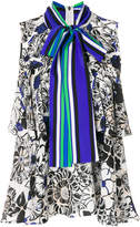 MSGM layered floral blouse with scarf tie