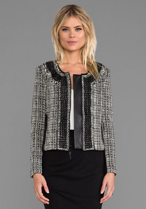 Milly Black and White Tweed Jacket