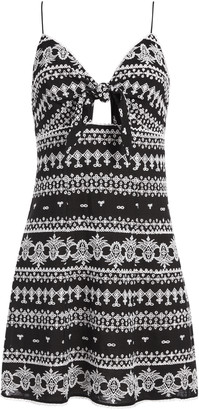 Alice + Olivia Roe Tie Front Mini Dress