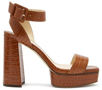 Jimmy Choo Jax 115 Crocodile-effect Leather Platform Sandals - Tan