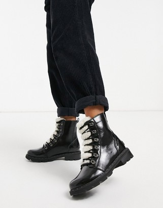 Sorel Lennox Lace Cozy flat ankle boot in black patent with lining