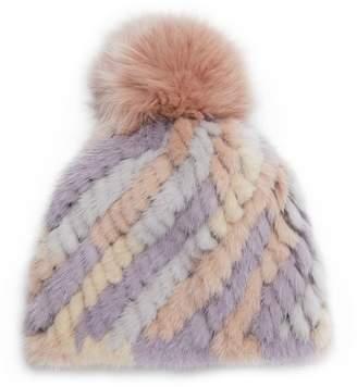 Jocelyn Mink Fur & Fox Fur Beanie