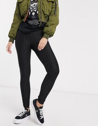 New Look pinstripe legging in black