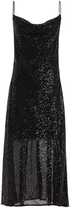 Jonathan Simkhai Draped Sequined Tulle Midi Slip Dress