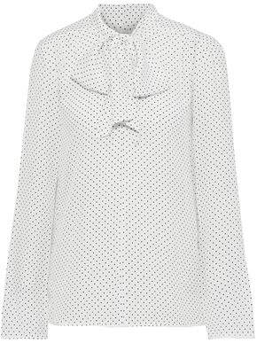 Max Mara Pussy-bow Polka-dot Silk Crepe De Chine And Jersey Blouse