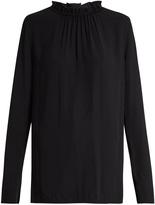 Marni Buttoned-back ruffled-neck crepe blouse