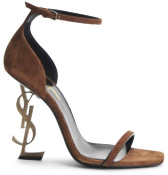 Saint Laurent Opyum Ankle-Strap Suede Sandals