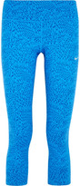 Nike Power Epic Cropped Printed Stretch-jersey Leggings - Blue