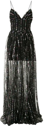 Rasario Striped-Sequin Tulle Gown