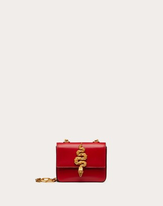 Valentino Mini Crossbody Bag In Glossy Calfskin With Serpent Accessory Women Rouge Pur 100% Pelle Di Vitello - Bos Taurus OneSize