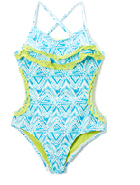 Vigoss Blue Radiance Sofie Double-Ruffle One-Piece - Girls