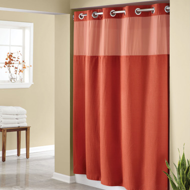 """Bed Bath & Beyond Hookless® Waffle Russet 71"""" x 74"""" Fabric Shower Curtain and Liner Set"""