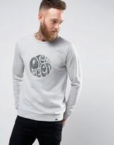 Pretty Green Sweatshirt With Paisley Logo Applique In Slim Fit Grey