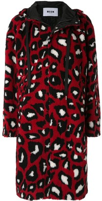 MSGM Faux Fur Leopard Print Parka