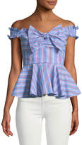 Romeo & Juliet Couture Off-The-Shoulder Bow-Front Peplum Blouse