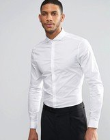 Asos Skinny Shirt In White With Cutaway Collar And Long Sleeves