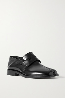 Maison Margiela Split-toe Patent-leather Collapsible-heel Loafers - Black