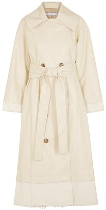 REJINA PYO Gladys ivory faux leather trench coat