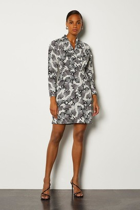 Karen Millen Animal Long Sleeved Wrap Dress
