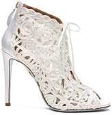 Aquazzura Satin Lattice Kya Bridal Booties in White.