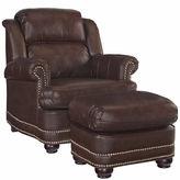 Asstd National Brand Beau Chair Ottoman Faux Leather Roll-Arm Chair