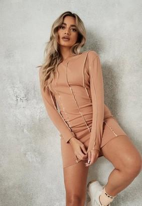 Missguided Petite Camel Exposed Seam Mini Dress