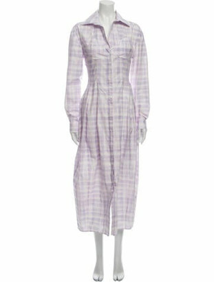 Jacquemus Plaid Print Long Dress Purple