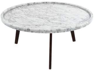 "Bronx Ivy Griselda 31"" Round Italian Carrara White Marble Coffee Table Ivy"